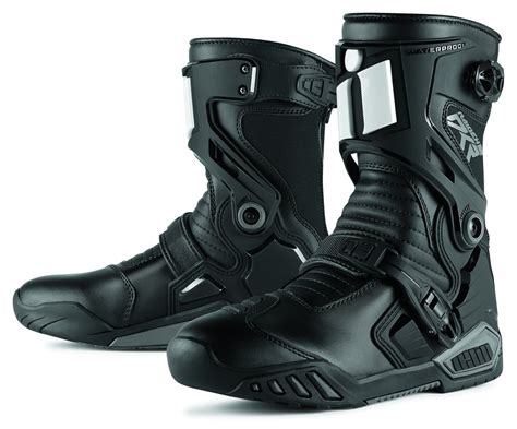 size 10 motocross boots icon mens raiden dkr armored rear entry zip leather
