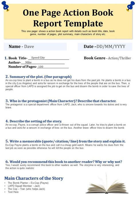 One Page Action Book Report Template Presentation Report ...