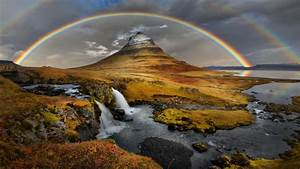 Sky, Lake, Rocks, Waterfalls, Rainbow, Wallpaper, Hd