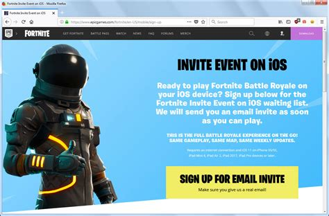 fortnite ios mobile invite event signup page