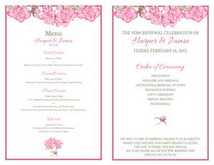 diy wedding ceremony program free vow renewal invitation suite pink roses