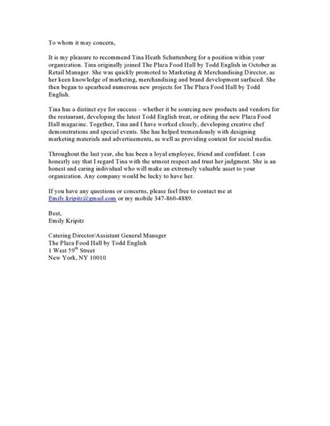 reference letter  emily  catering director