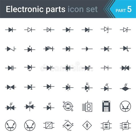 electric and electronic circuit diagram symbols set of diodes and bridge rectifier stock vector