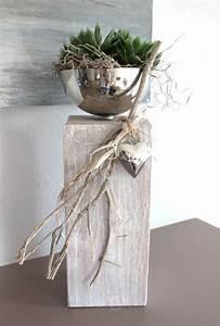 Ideen Mit Alten Brettern : kl37 dekos ule f r innen und aussen holzs ule gebeizt und wei geb rstet dekoriert mit ~ Eleganceandgraceweddings.com Haus und Dekorationen