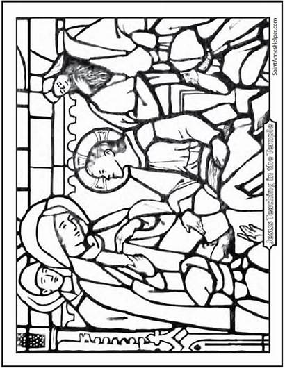 Coloring Jesus Rosary Pages Temple Teaching Bible