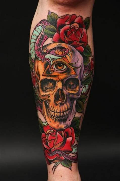 neo traditional skull  roses great color skull