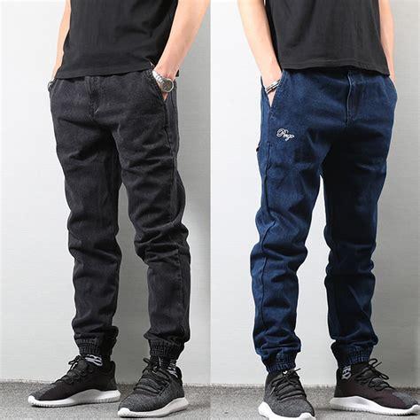 Japanese Style Fashion Men Jogger Jeans Black Blue Color