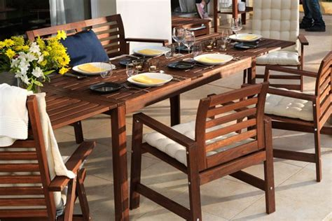 wood ikea outdoor table  includes    chairs