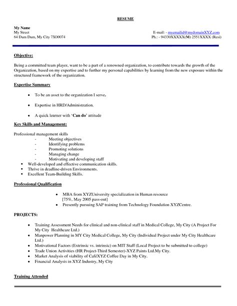 mba fresher resume format resume ideas