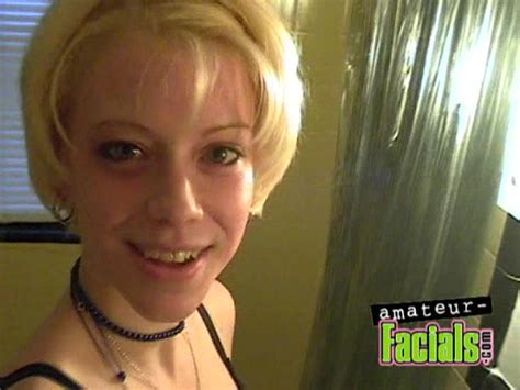 Shorthaired Blonde Teen Gets Nicely Facialized From A Big Cock