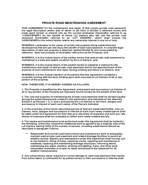 road maintenance agreement form fillable printable