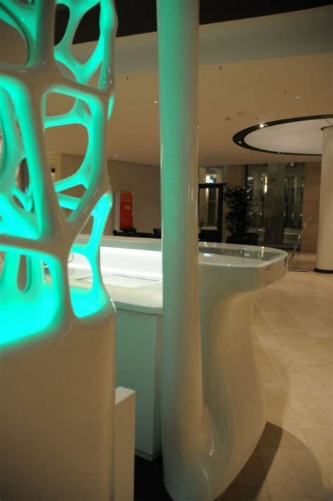 pwc help desk pwc lobby cafe reception desk futuristic design by joi