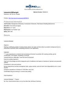 millwright resume exle resume objective for student