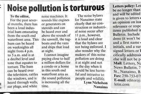 letter   editor noise pollution  torturous