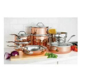 viking  piece tri ply copper cookware set   shipping ebay
