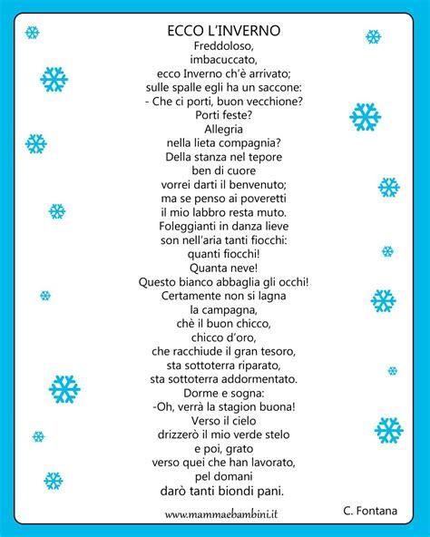 Cornici Per Poesie poesia con cornice ecco l inverno mamma e bambini