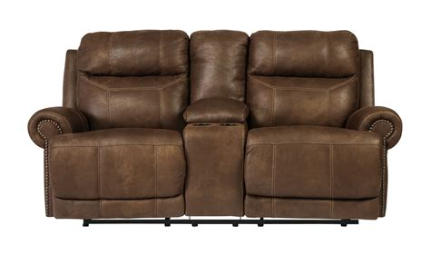 Loveseats On Clearance austere reclining loveseat w console in brown