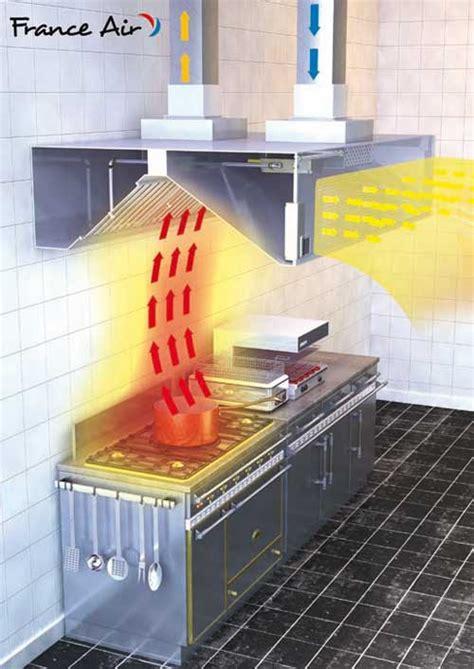 eclairage hotte cuisine professionnelle hotte avec compensation intégrée pour chauffer l 39 air insufflé