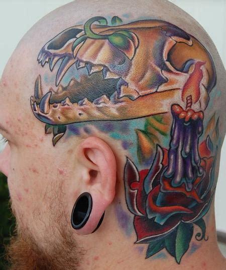 custom full color coyote skullcandlerose head tattoo  evan olin tattoos