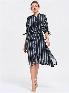 slit belted stripes shirt dress stripe casual dresses m With zara robe chemise