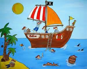 piraten kinderzimmer piratenbild pirat kunst für kinder wandtattoo acryl amana 277710