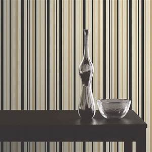Buy Fine Decor Tulipa Stripe Wallpaper Black / Gold/ Cream