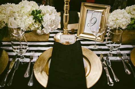 black white  gold table setting idea