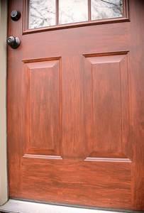 faux wood door; wood grain paint technique; how to paint