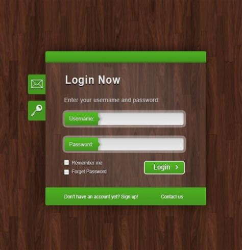 Green Login Form On Wood Texture Psd File
