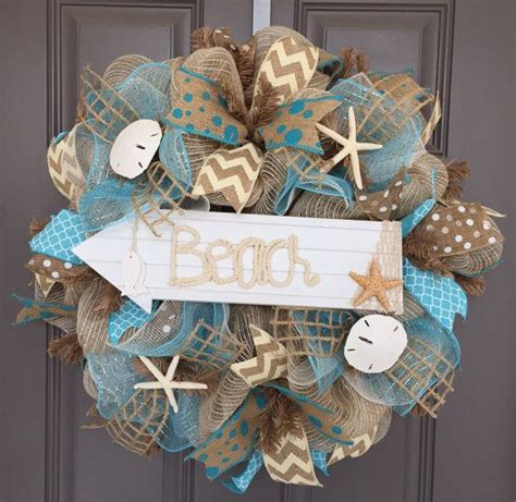 Beach Burlapdeco Mesh Wreath With Seashells By
