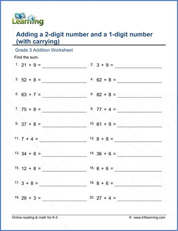 grade  addition worksheets add    digit numbers