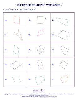 3 free worksheets for classifying triangles and quadrilaterals