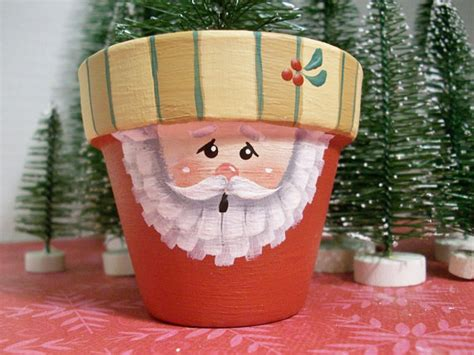 Small Hand Painted Clay Pot Santa Christmas Decoration Red Kitchen Design Perth Designers Modern Island Ideas Cabinets Software Free Designs For Galley Kitchens Online Cabinet Remodeling And Bath Store