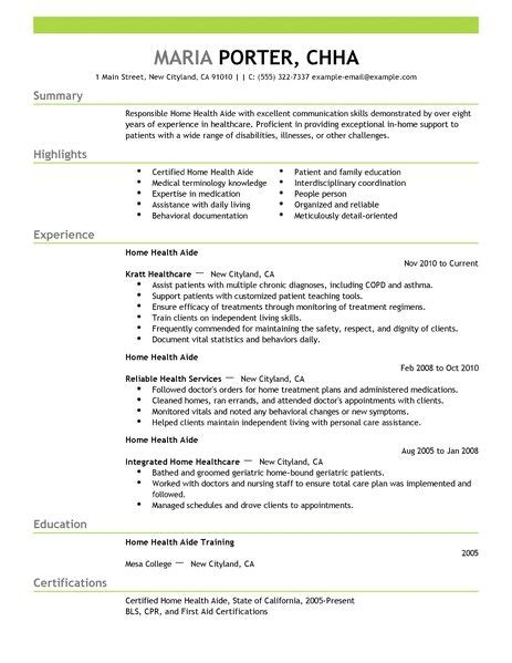 Exle Of Health Care Assistant Resume by Home Health Care Resume Best Resume Gallery