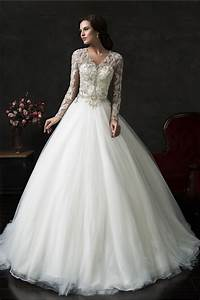 Ball gown v neck tulle lace long sleeve wedding dress with for V neck wedding dress with sleeves