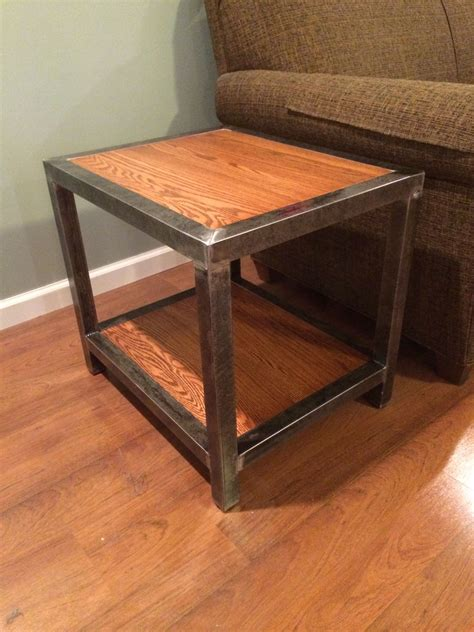welded  table   square tubing   red oak