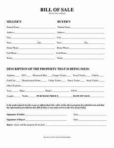 Free Printable Equipment Bill Of Sale Template Form Generic