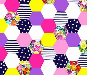 Neon Summer Floral Hexie Quilt V2 fabric theartwerks