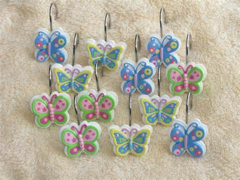 butterfly shower curtain hooks lillian vernon 12 butterfly shower curtain hooks rings ebay