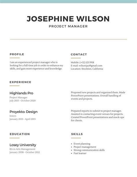 A Simple Resume by Basic Resume Template 2019 List Of 10 Basic Resume Templates