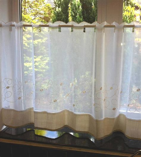 vintage cafe curtains jazz beige retro swirl voile cafe net curtain panel 3167