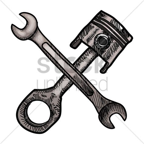 piston and spanner vector 1459962 stockunlimited