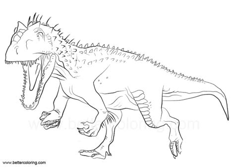 Coloring Jurassic World by Indoraptor Coloring Pages From Jurassic World Free