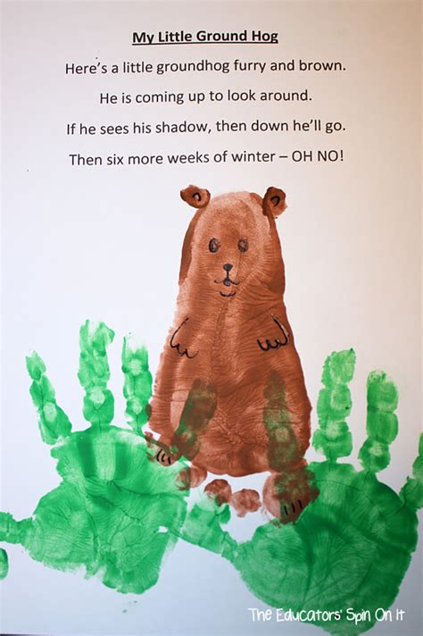 the educators spin on it groundhog day ideas for 991 | Groundhog Footprint and handprints
