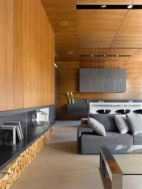 graues sichtmauer im wohnzimmer einrichten mit grau holz alexandra fedorova möbelideen