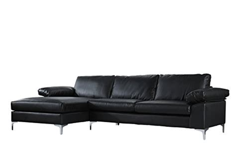 Divano Roma Modern Large Faux Leather Sectional Sofa, L