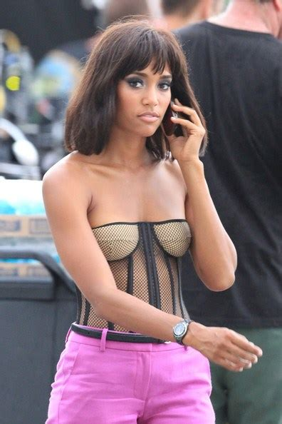 actress kelly taylor actress annie ilonzeh on the set of charlie s angels in