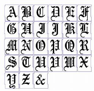 Alphabet stencils airbrush stencils letter templates 50mm for Router alphabet templates