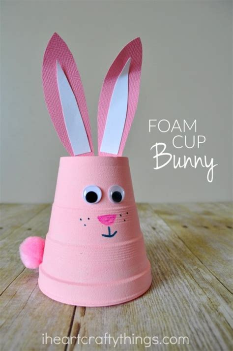 easter crafts for to make how to make a super cute foam cup bunny craft i heart crafty things