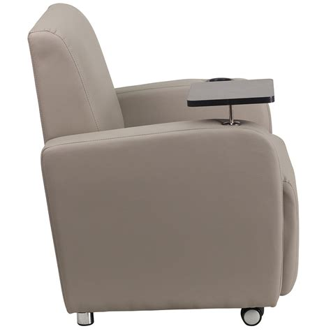 gray leather guest chair with tablet arm front wheel